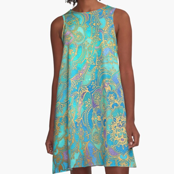 Sapphire & Jade Stained Glass Mandalas A-Line Dress