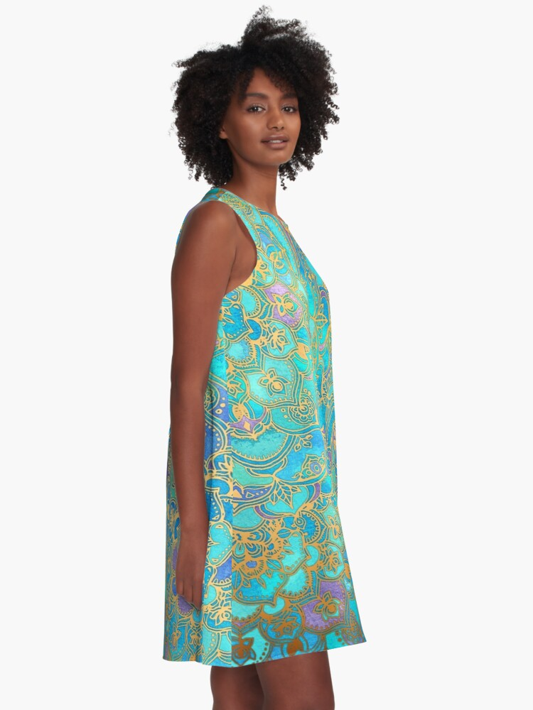 Alternate view of Sapphire & Jade Stained Glass Mandalas A-Line Dress
