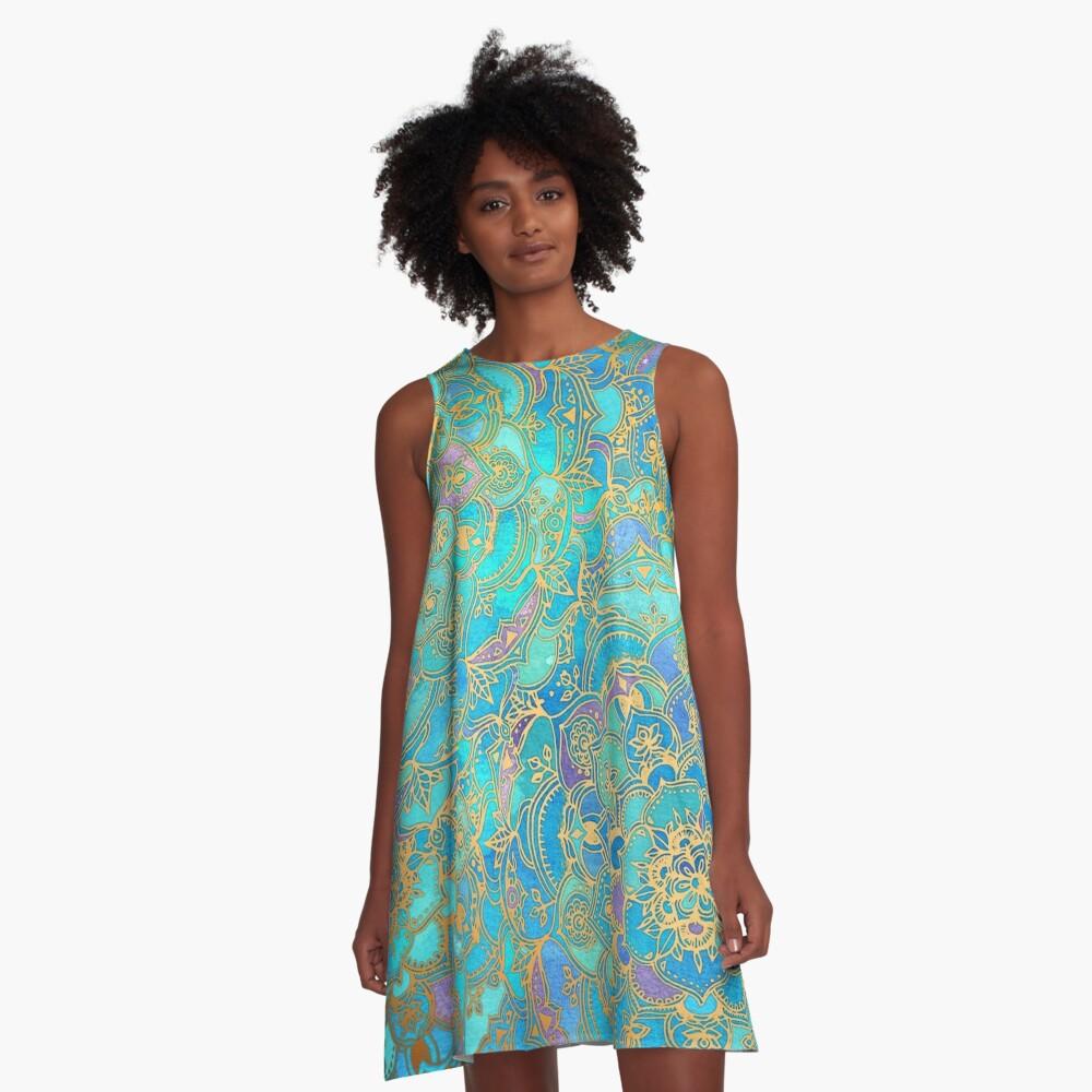 Sapphire & Jade Stained Glass Mandalas A-Line Dress