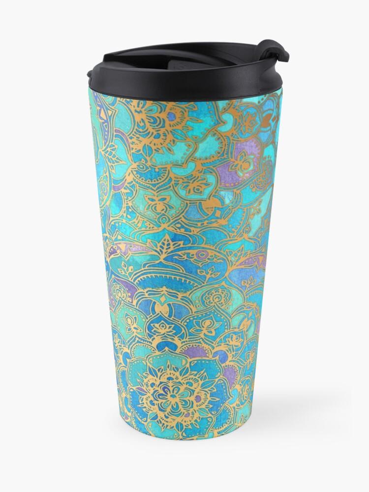 Alternate view of Sapphire & Jade Stained Glass Mandalas Travel Mug