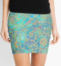 Sapphire & Jade Stained Glass Mandalas Mini Skirt