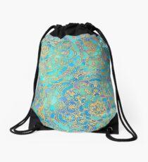 Sapphire & Jade Stained Glass Mandalas Drawstring Bag