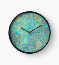 Sapphire & Jade Stained Glass Mandalas Clock