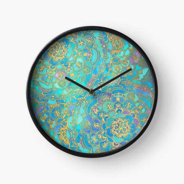 Sapphire & Jade Stained Glass Mandalas Clock