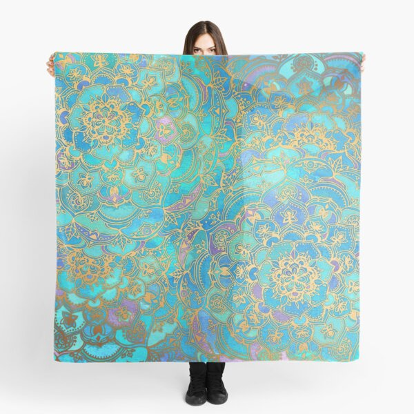 Sapphire & Jade Stained Glass Mandalas Scarf