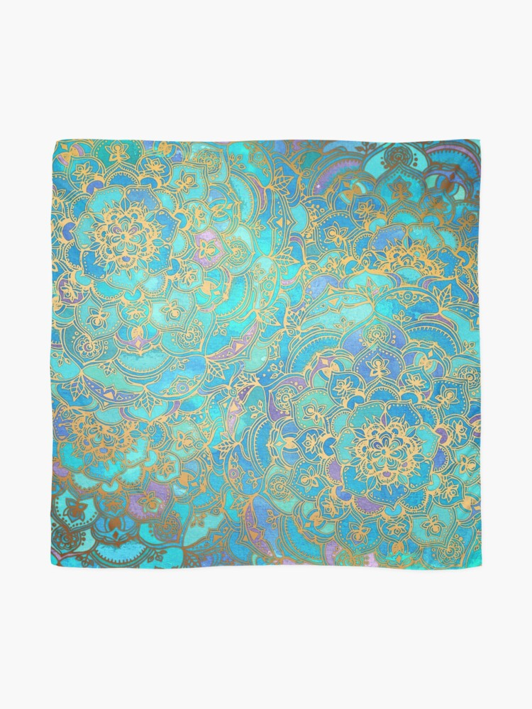 Alternate view of Sapphire & Jade Stained Glass Mandalas Scarf