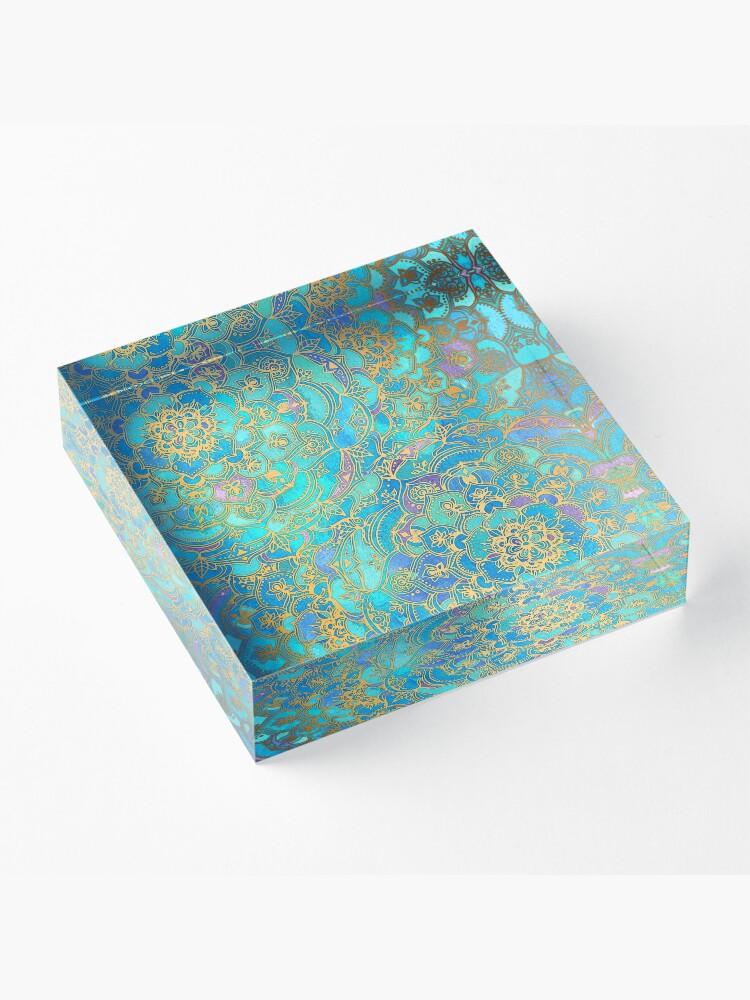 Alternate view of Sapphire & Jade Stained Glass Mandalas Acrylic Block