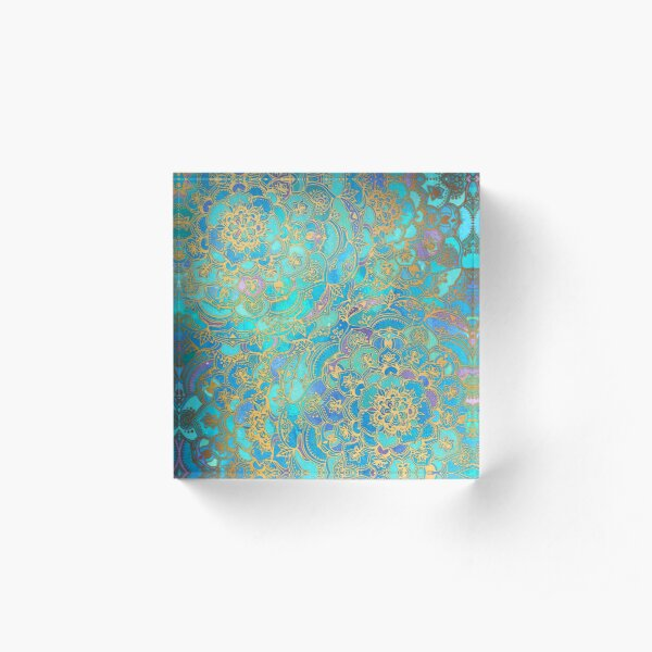 Sapphire & Jade Stained Glass Mandalas Acrylic Block