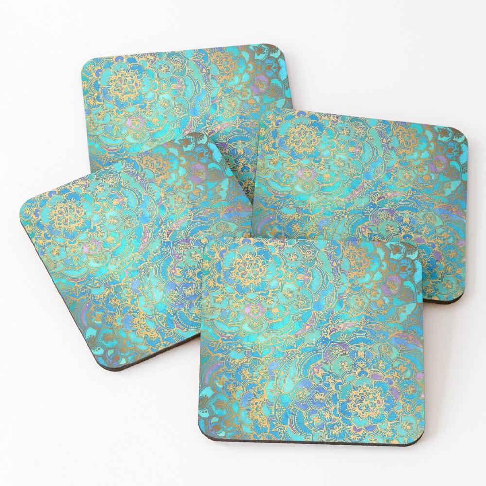 Sapphire & Jade Stained Glass Mandalas Coasters (Set of 4)