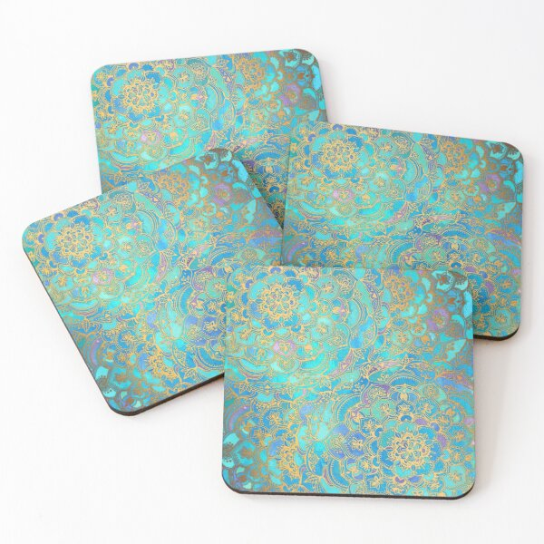 Sapphire & Jade Stained Glass Mandalas Coasters (Set of 4)