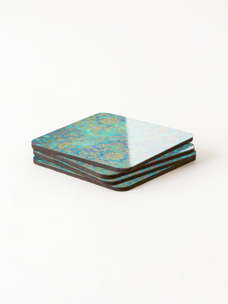 Alternate view of Sapphire & Jade Stained Glass Mandalas Coasters (Set of 4)
