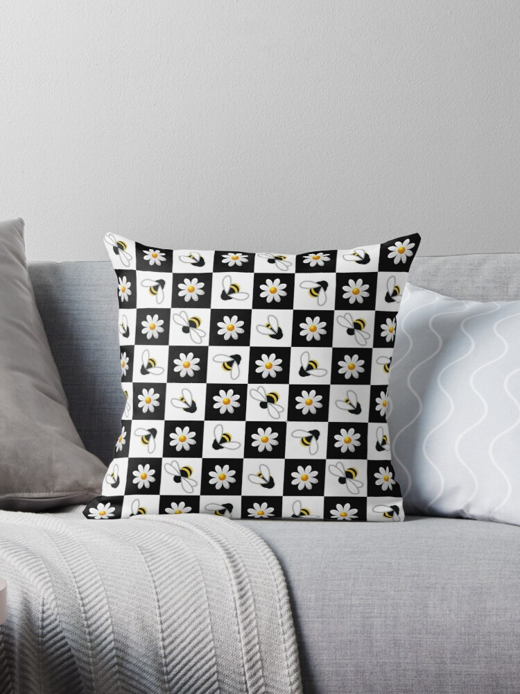 Chequer Board Bumble Bee Retro Design Pattern by MooseDisco