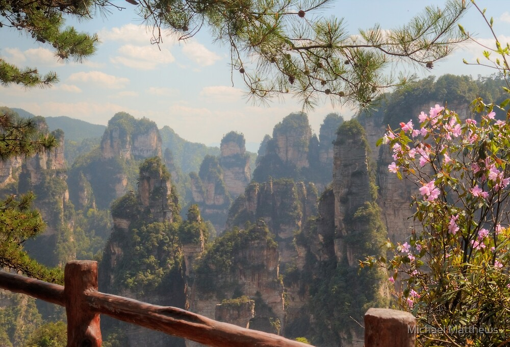 Zhangjiejie Pinnacles With Azaleas by Michael Matthews