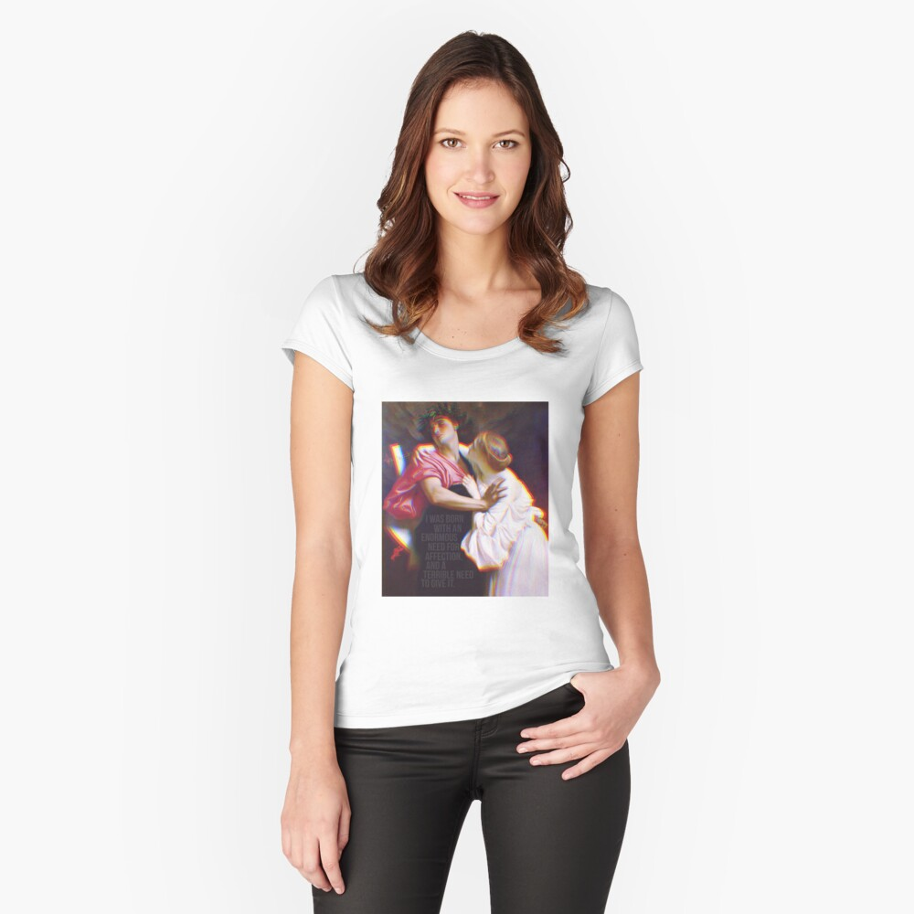 Audrey Hepburn x Frederic Leighton   oil on canvas quote Women's Fitted Scoop T-Shirt Front