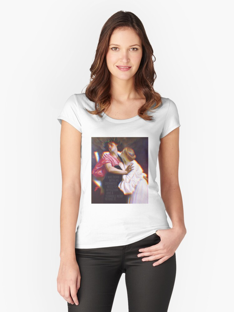 Audrey Hepburn x Frederic Leighton | oil on canvas quote Women's Fitted Scoop T-Shirt Front