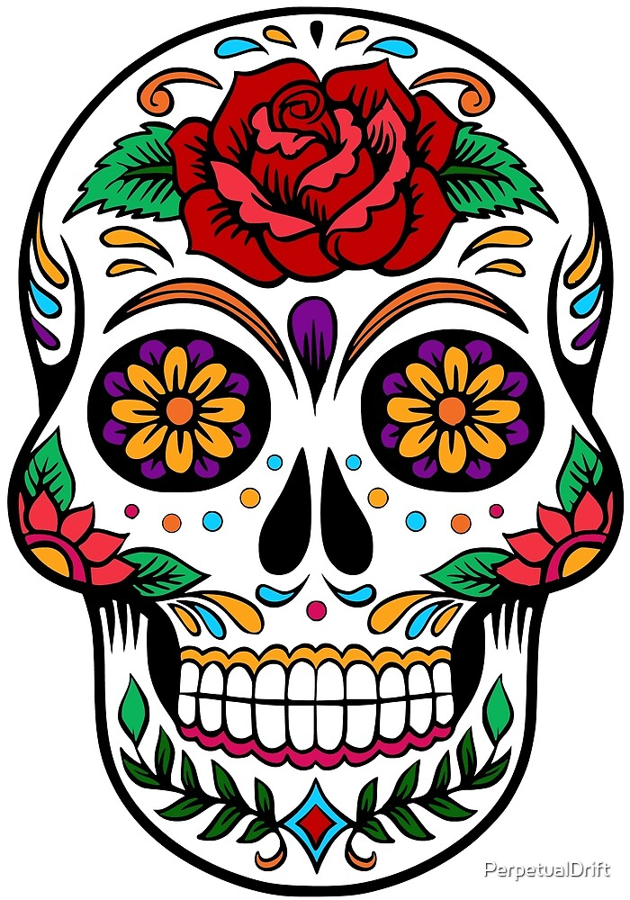 Sugar Skull with Rose Day of the Dead by PerpetualDrift