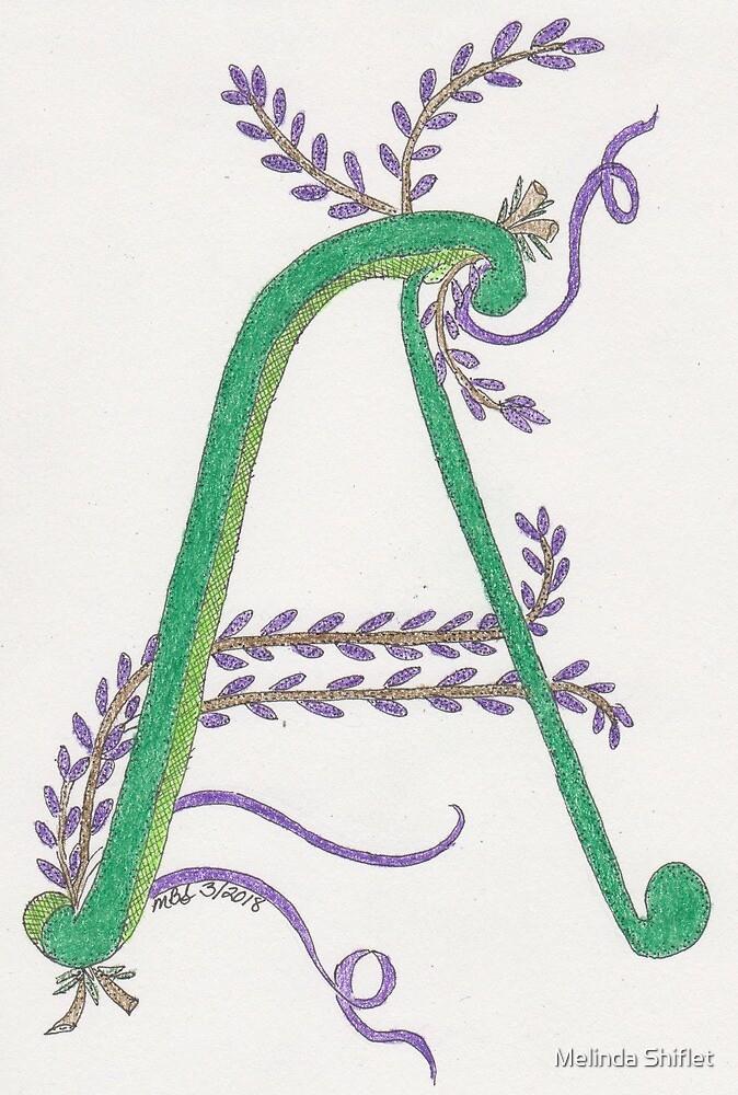 """A"" Floral Designed Initial  by Melinda Shiflet"
