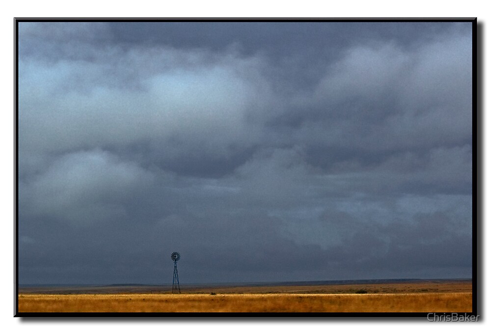 Stormy Windmill    New Mexico Plains by ChrisBaker