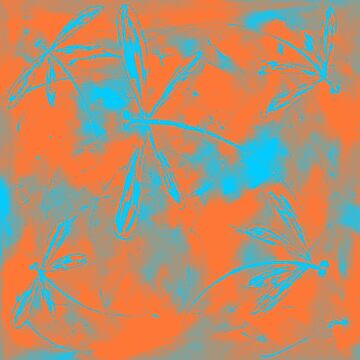 Orange Turquoise Blue Dragonfly Abstract by lyndseyart