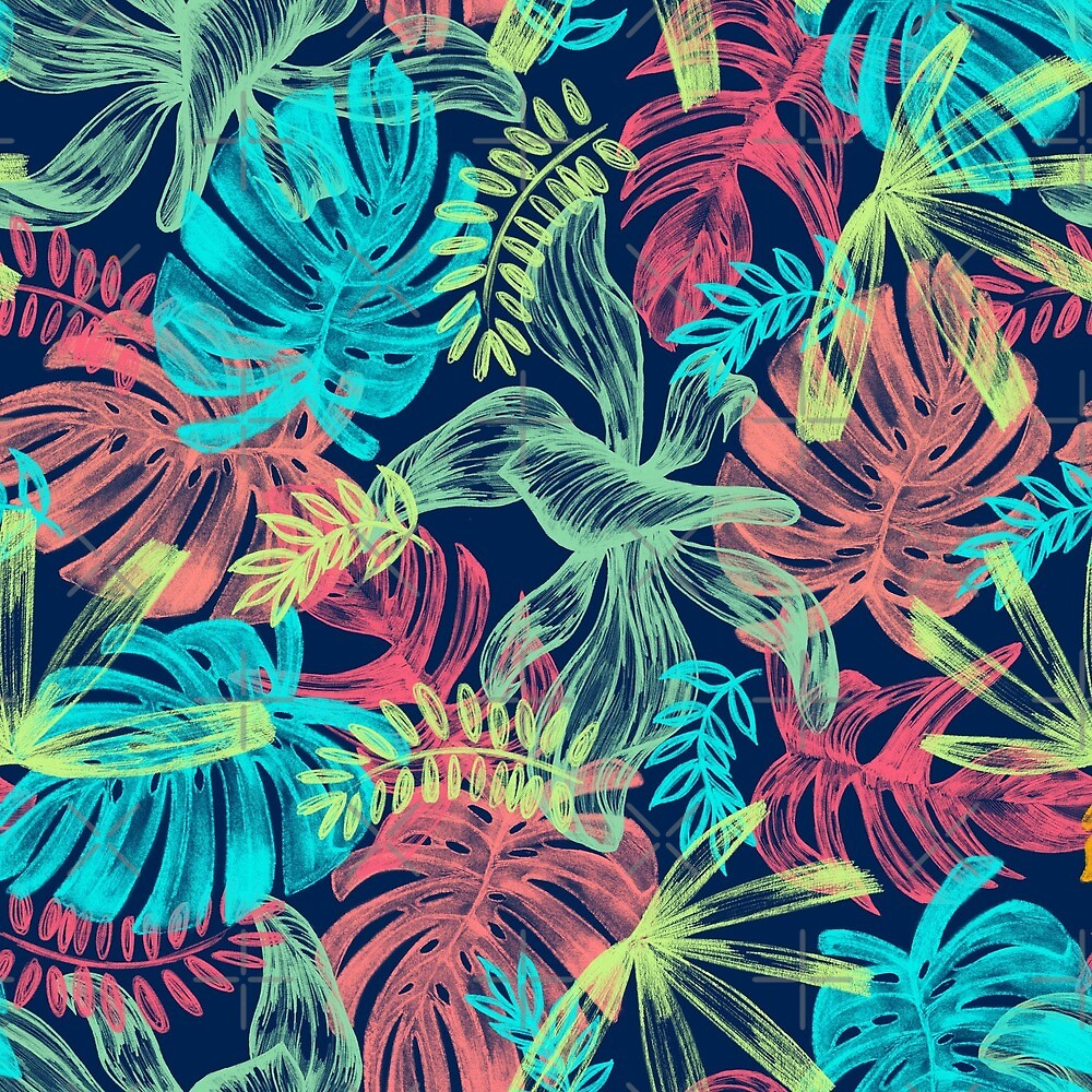 Neon Floral Flower Tropical Summer Palm Pattern  by LuckyU-Design