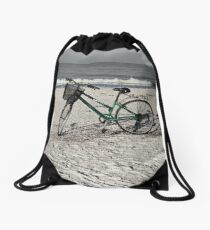 Bike on Barefoot Beach Drawstring Bag