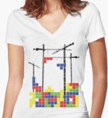 Tetris Skyline Women's Fitted V-Neck T-Shirt