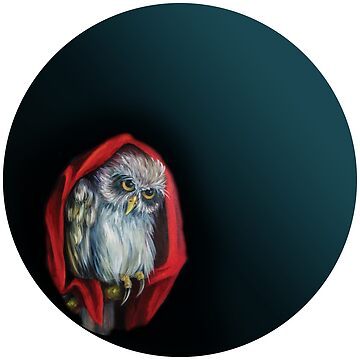 owl in a red Cape on a branch at night by Eevlada