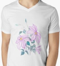 purple clematis florida watercolor   V-Neck T-Shirt