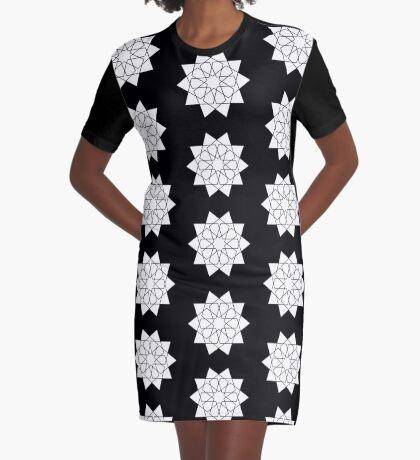 Islamic 10 Pointed Star Black & White Graphic T-Shirt Dress