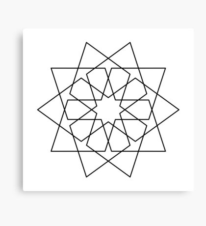Islamic 10 Pointed Star Black & White Canvas Print