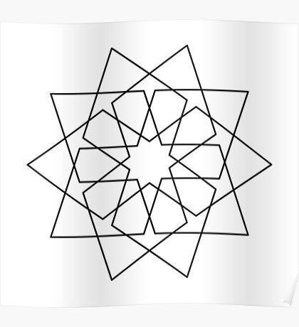 Islamic 10 Pointed Star Black & White Poster