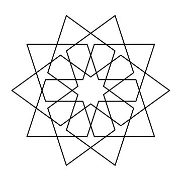 Islamic 10 Pointed Star Black & White by rupertrussell