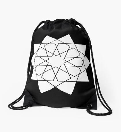 Islamic 10 Pointed Star Black & White Drawstring Bag