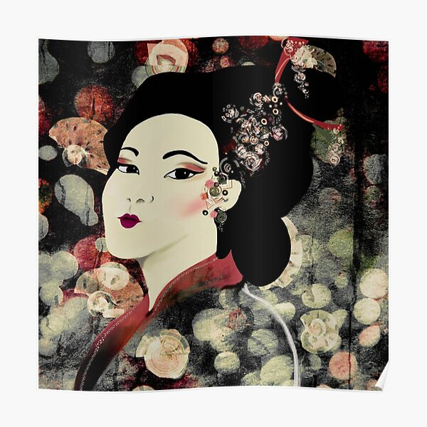 Geisha Print on Abstract Background Poster