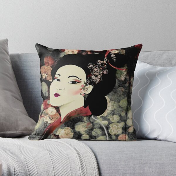 Geisha Print on Abstract Background Throw Pillow