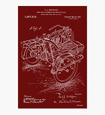 Patent Blueprint - 1918 Sidecar For A Motorcycle Photographic Print