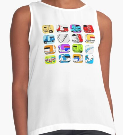 Scooter T-shirts Art: Vintage scooter cube illustration Contrast Tank