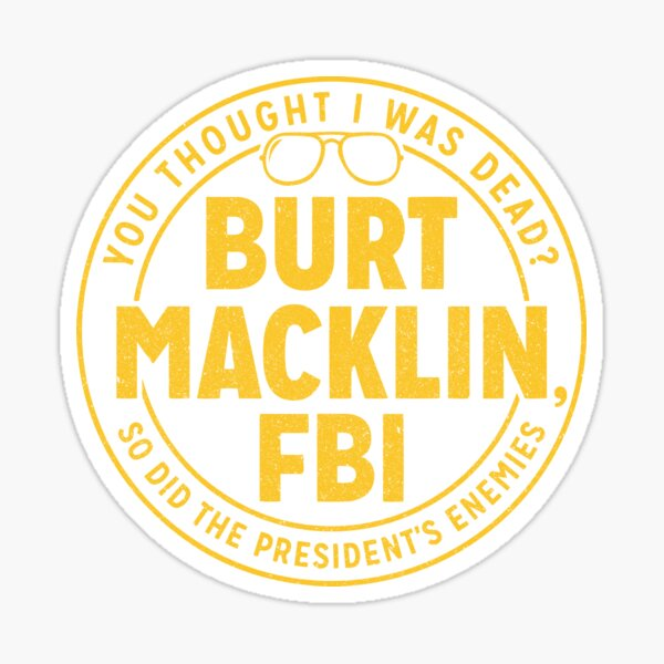 Parks and Rec Burt Macklin FBI Sticker
