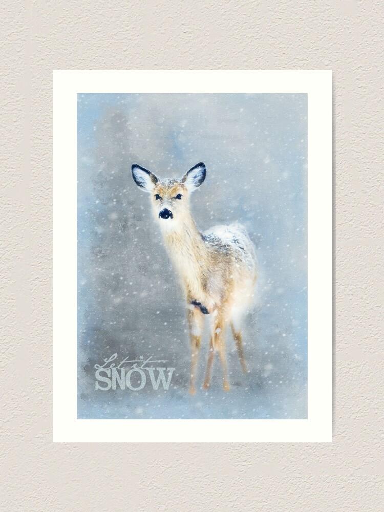 Impression artistique ''Biche dans la neige': autre vue