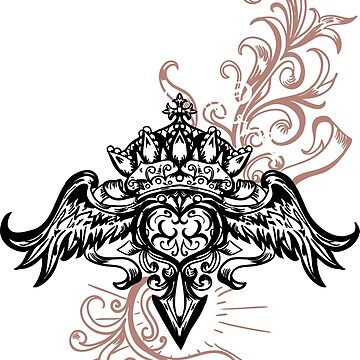 Vector illustration of winged heart, crown and apple by eszadesign