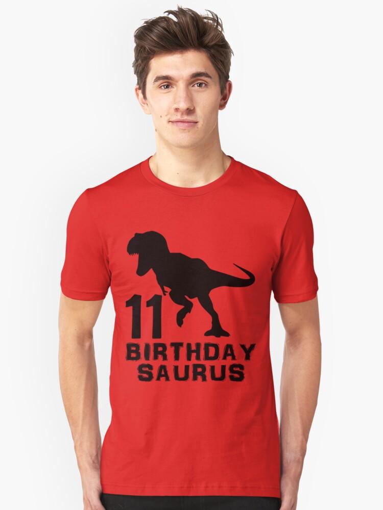 11 Year Old Birthday Party Mens Womens Kids Gift T Shirt Dinosaur Birthdaysaurus Birthday saurus Dino saur tshirt Unisex T-Shirt Front
