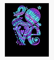 Groovy Purple Tie Dye Love Sign Photographic Print
