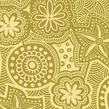 Abstract Yellow Ethnic Pattern by kbasandra