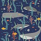 Whales in the Ocean Pattern by latheandquill