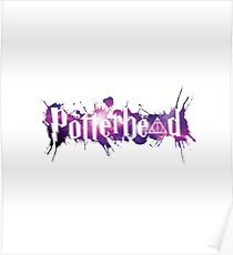 Galaxy hallows and Potterheads with splashes outline (pink galaxy) - wand, cloak, stone Poster