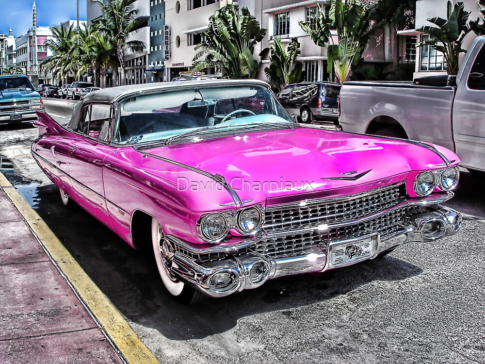 Pink Cadillac Collins Ave Miami By David Charniaux Redbubble - Cadillac dealer miami