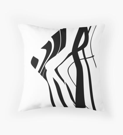 Organic No.4 Black & White Abstract Throw Pillow