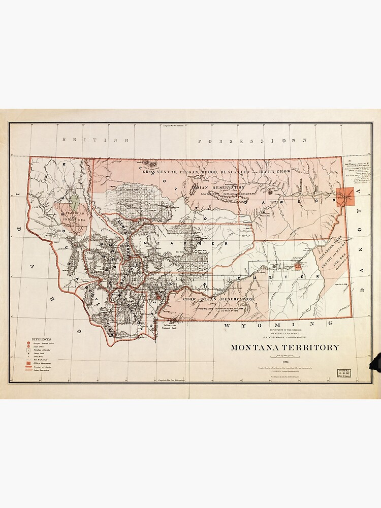 photograph relating to Printable Map of Montana titled Map of Montana Territory via Charles Roeser (1879) Photographic Print