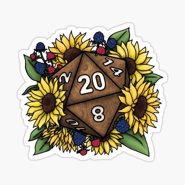 Sunflower D20 Tabletop RPG Gaming Dice Sticker
