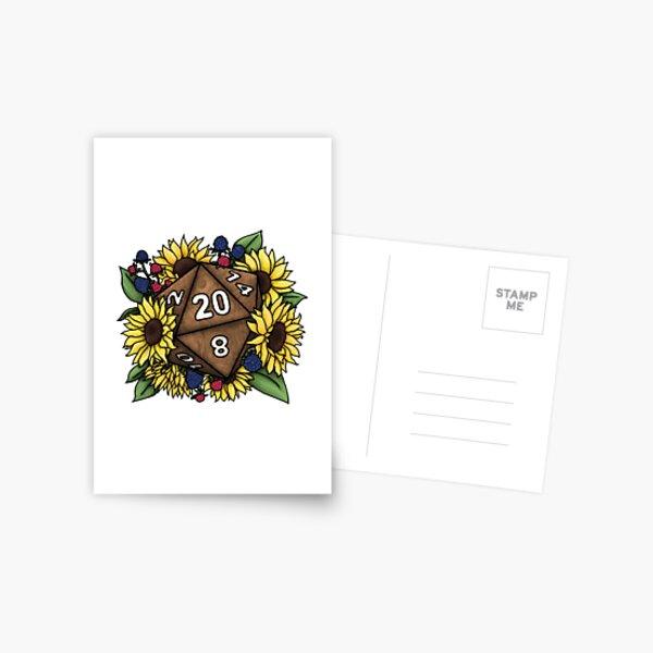 Sunflower D20 Tabletop RPG Gaming Dice Postcard